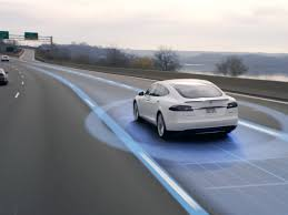 Self Drive Tesla on the road