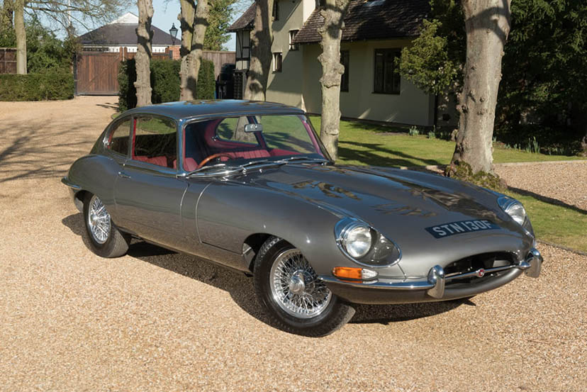 An image of a grey Jaguar E Type