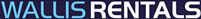 The Wallis Rentals logo - Text reads Wallis (in a light blue) and Rentals (in white), on top of a deep navy background.