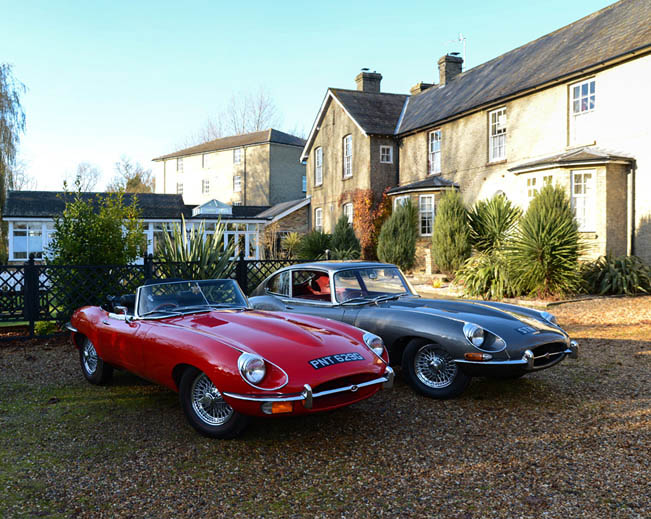 An image of the Jaguar E type 2+2 and the Jaguar E type convertible outside Quy Mill.